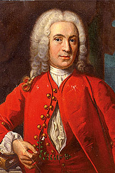 Decorative image: painted portrait of Carl Linnaeus